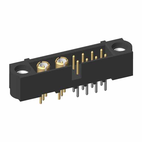 M80-5T10842M1-02-311-00-000 - 8+2 Pos. Male Signal+Coax Vertical Throughboard Conn. Jackscrews