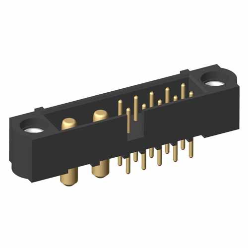 M80-5T11005M1-02-PM1-00-000 - 10+2 Pos. Male Signal+Power Vertical Throughboard Conn. Jackscrews