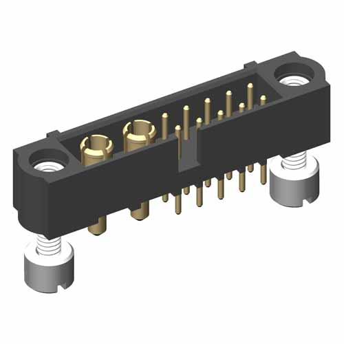 M80-5T11005M3-02-331-00-000 - 10+2 Pos. Male Signal+Power Vertical Throughboard Conn. Jackscrews