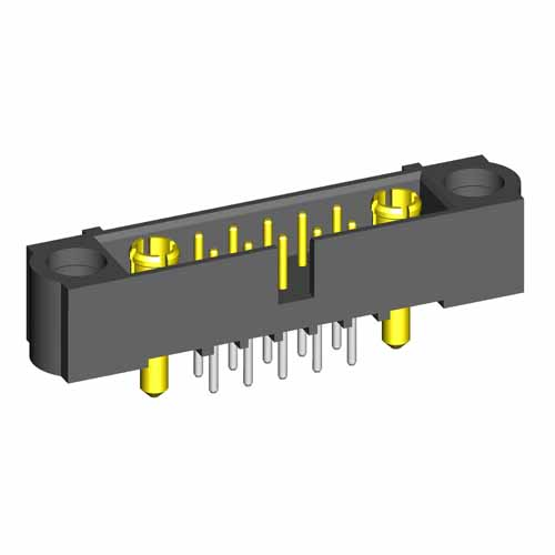 M80-5T1102200-01-331-01-331 - 10+2 Pos. Male Signal+Power Vertical Throughboard Conn. Jackscrews