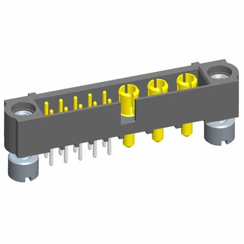 M80-5T11042M2-00-000-03-331 - 10+3 Pos. Male Signal+Power Vertical Throughboard Conn. Jackscrews