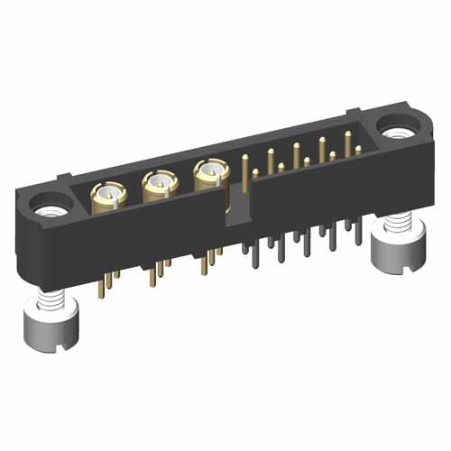 M80-5T11042M3-03-311-00-000 - 10+3 Pos. Male Signal+Coax Vertical Throughboard Conn. Jackscrews