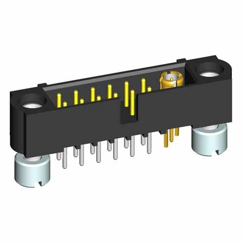 M80-5T11205M2-00-000-01-311 - 12+1 Pos. Male Signal+Coax Vertical Throughboard Conn. Jackscrews