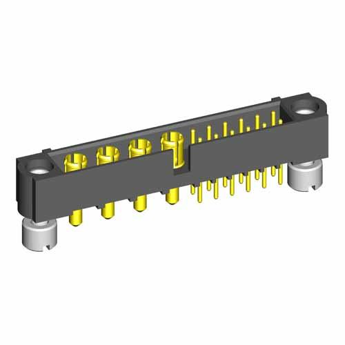 M80-5T11205M2-04-331-00-000 - 12+4 Pos. Male Signal+Power Vertical Throughboard Conn. Jackscrews