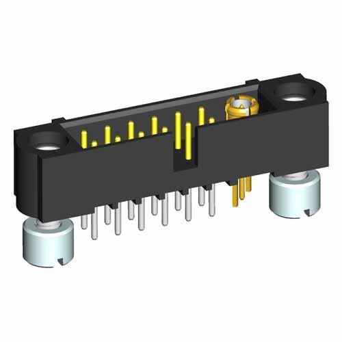 M80-5T11242M2-00-000-01-311 - 12+1 Pos. Male Signal+Coax Vertical Throughboard Conn. Jackscrews