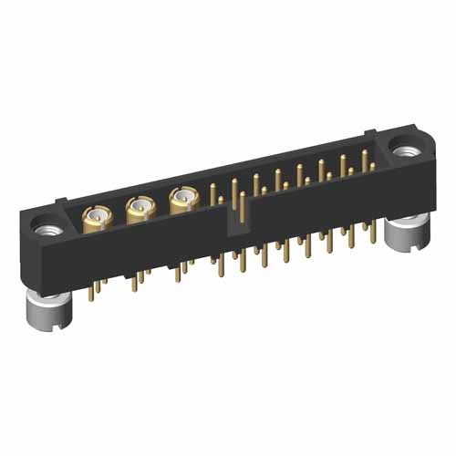 M80-5T11605M2-03-311-00-000 - 16+3 Pos. Male Signal+Coax Vertical Throughboard Conn. Jackscrews