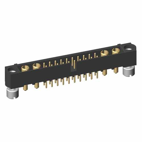 M80-5T12005M2-02-331-02-331 - 20+4 Pos. Male Signal+Power Vertical Throughboard Conn. Jackscrews