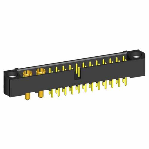 M80-5T12405M1-02-331-00-000 - 24+2 Pos. Male Signal+Power Vertical Throughboard Conn. Jackscrews