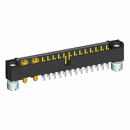 M80-5T12642M2-02-331-00-000 - 26+2 Pos. Male Signal+Power Vertical Throughboard Conn. Jackscrews