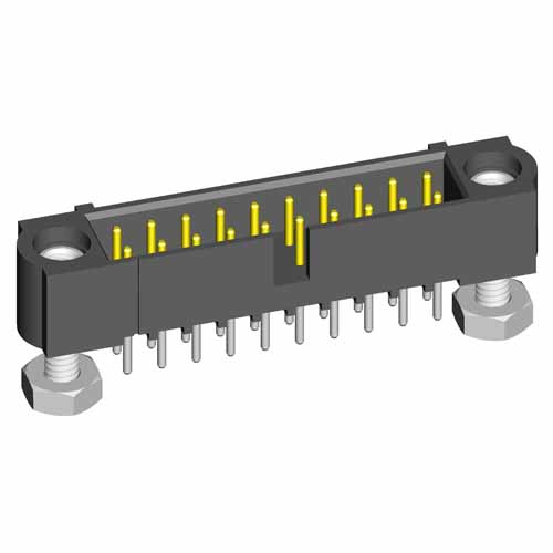 M80-5T10605MF - 3+3 Pos. Male DIL Vertical Throughboard Conn. Jackscrews