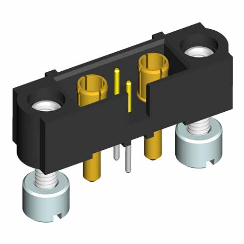 M80-5T202M3-11-332 - 2+2 Pos. Male Signal+Power Vertical Throughboard Conn. Jackscrews