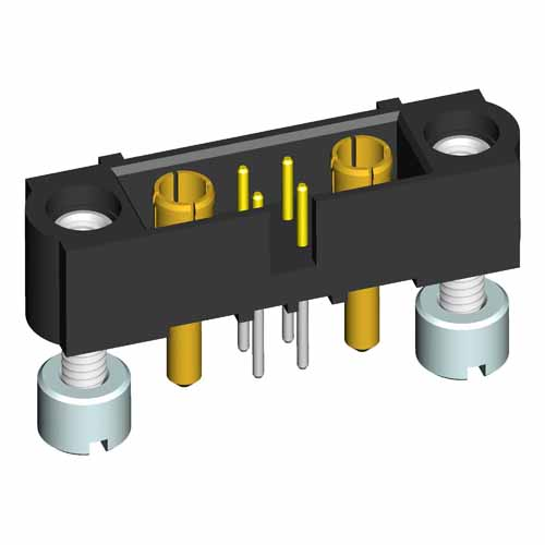 M80-5T204M3-11-332 - 4+2 Pos. Male Signal+Power Vertical Throughboard Conn. Jackscrews
