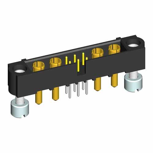 M80-5T20642M3-02-332-02-332 - 6+4 Pos. Male Signal+Power Vertical Throughboard Conn. Jackscrews