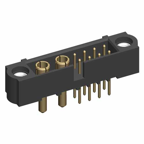 M80-5T20805M1-02-332-00-000 - 8+2 Pos. Male Signal+Power Vertical Throughboard Conn. Jackscrews