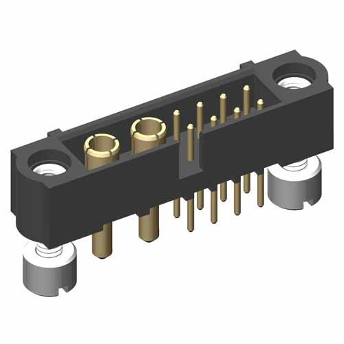 M80-5T20805M3-02-332-00-000 - 8+2 Pos. Male Signal+Power Vertical Throughboard Conn. Jackscrews