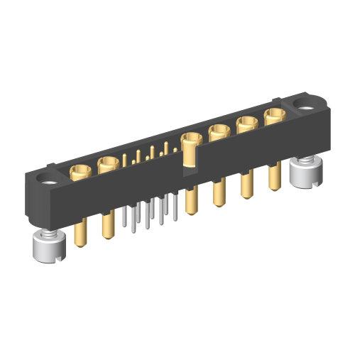 M80-5T20822M2-02-332-04-332 - 8+6 Pos. Male Signal+Power Vertical Throughboard Conn. Jackscrews
