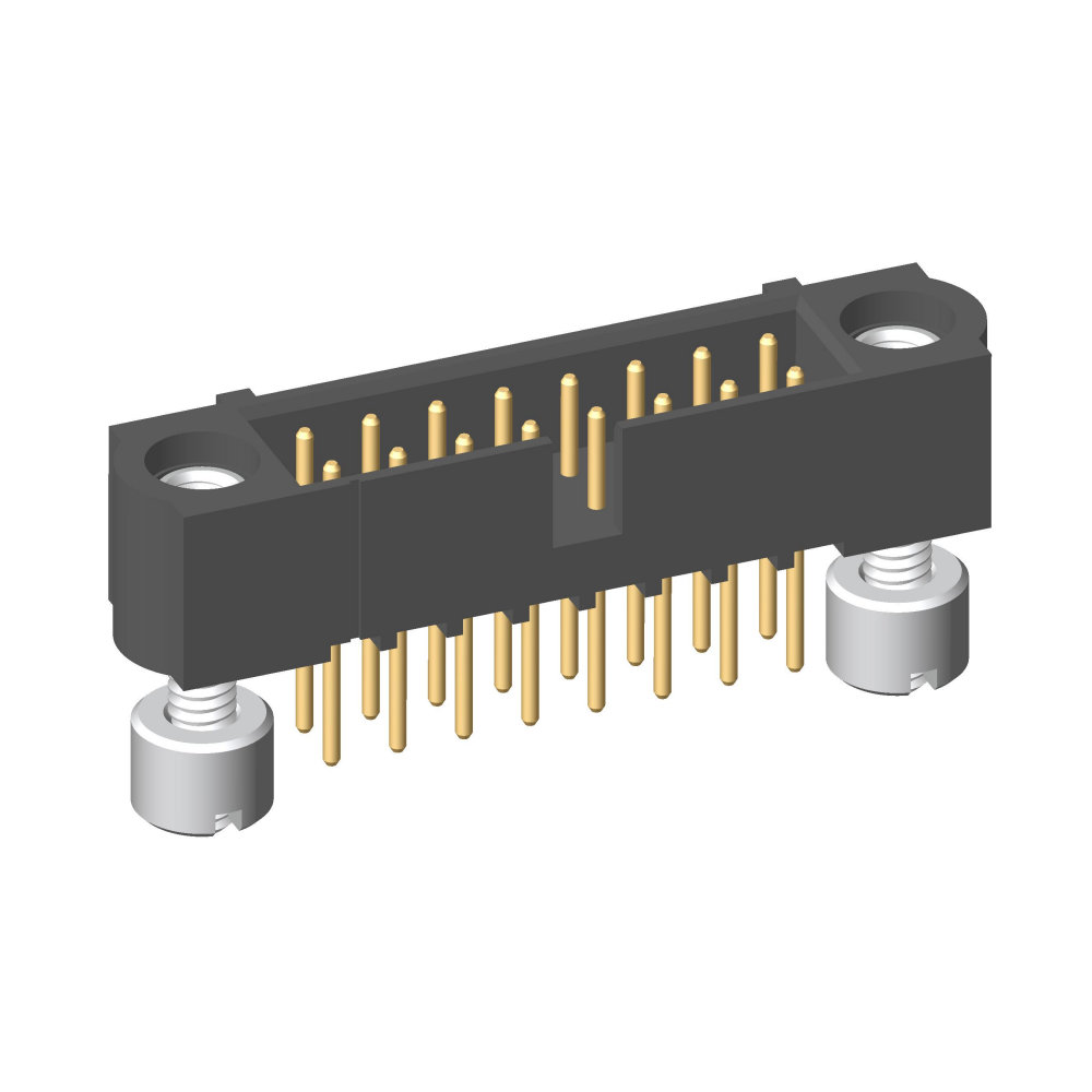 M80-5T21605MH - 8+8 Pos. Male DIL Vertical Throughboard Conn. Jackscrews
