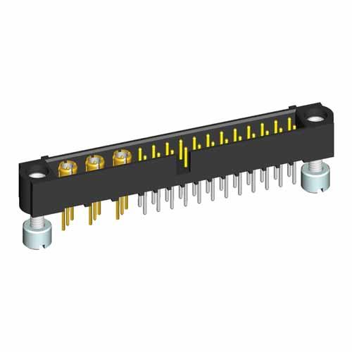 M80-5T22442M3-03-312-00-000 - 24+3 Pos. Male Signal+Coax Vertical Throughboard Conn. Jackscrews