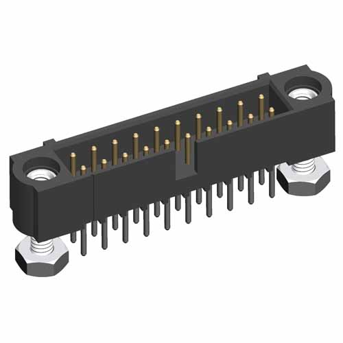 M80-5T25042MF - 25+25 Pos. Male DIL Vertical Throughboard Conn. Jackscrews