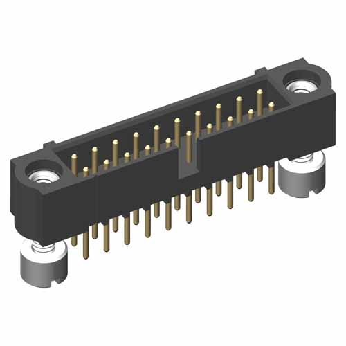 M80-5T22805MH - 14+14 Pos. Male DIL Vertical Throughboard Conn. Jackscrews