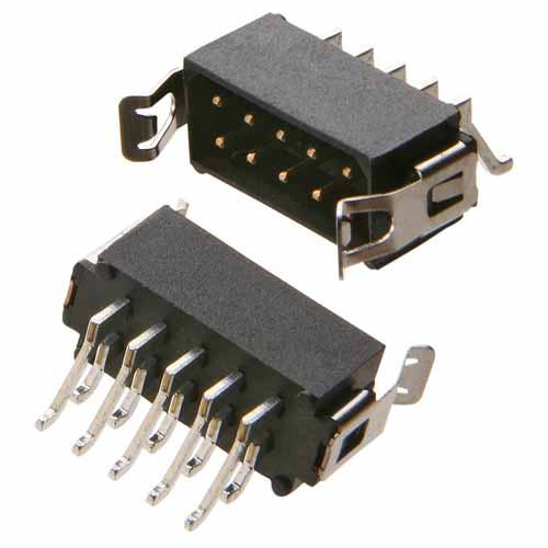 M80-6660622 - 3+3 Pos. Male DIL Horizontal SMT Conn. Latches