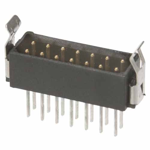 M80-7531842 - 9+9 Pos. Male DIL Vertical Throughboard Conn. Latches