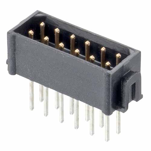 M80-7544422 - 22+22 Pos. Male DIL Vertical Throughboard Conn. No Latches