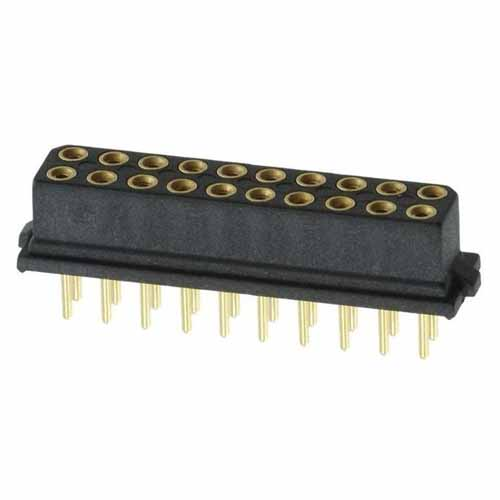 M80-8502045 - 10+10 Pos. Female DIL Vertical Throughboard Conn. for Latches