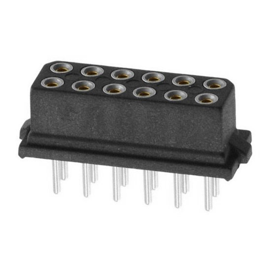 M80-8871201 - 6+6 Pos. Female DIL Vertical Throughboard Conn. for Latches