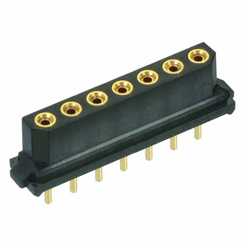 M80-8970705 - 7 Pos. Female SIL Vertical Throughboard Conn. for Latches