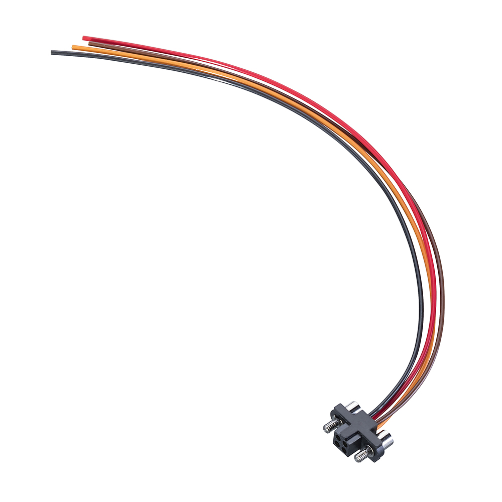 M80-FB10468F2-XXXXL - 2+2 Pos. Female T-Contact DIL 22AWG Cable Assembly, single-end, Jackscrews