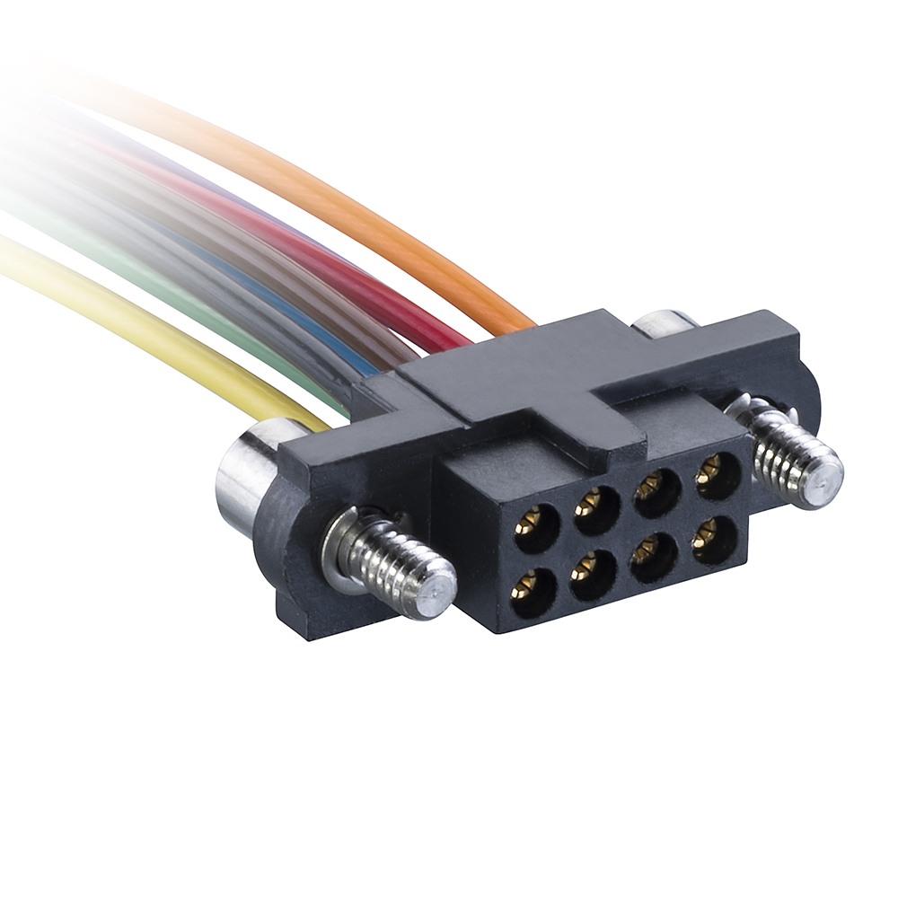 M80-FB10868F2-0150L - 4+4 Pos. Female T-Contact DIL 22AWG Cable Assembly, 150mm, single-end, Jackscrews