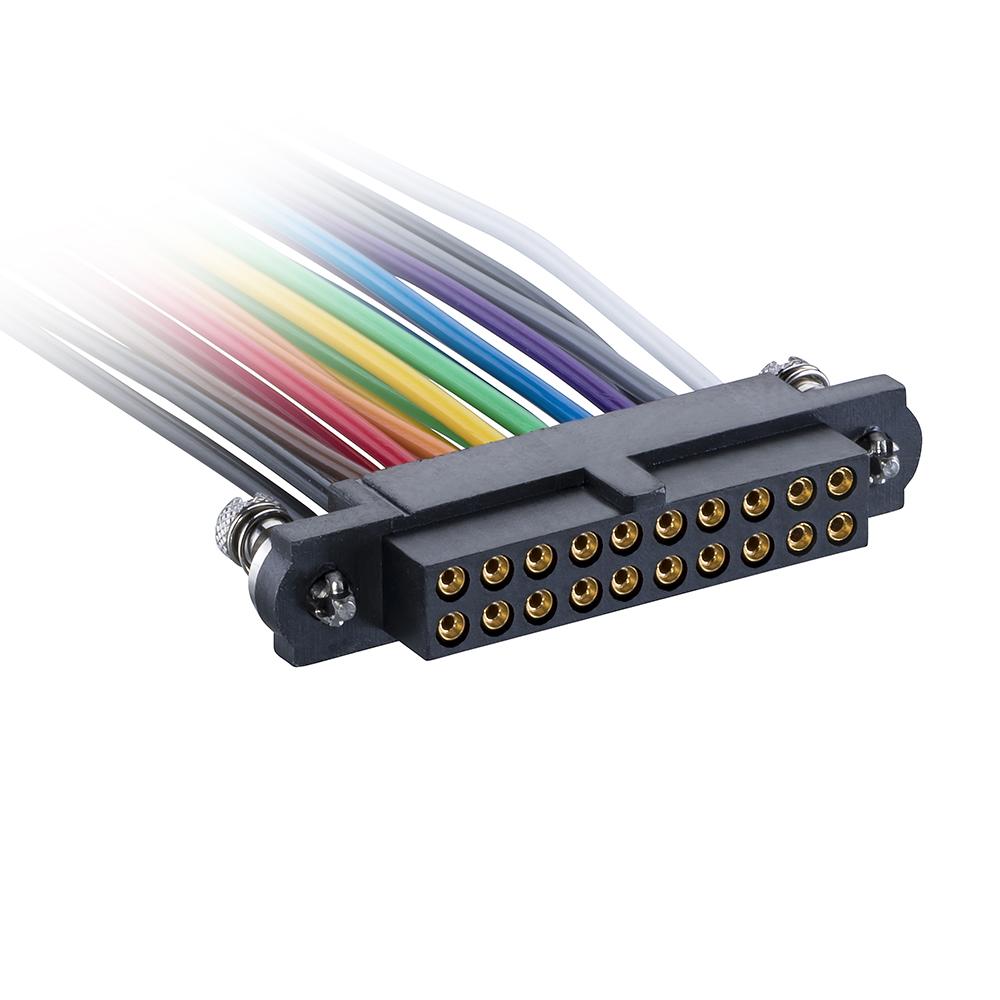 M80-FC12068FC-XXXXL - 10+10 Pos. Female DIL 22AWG Cable Assembly, single-end, 101Lok
