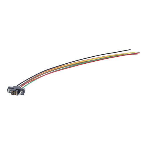 M80-FC10468F2-XXXXL - 2+2 Pos. Female DIL 22AWG Cable Assembly, single-end, Jackscrews