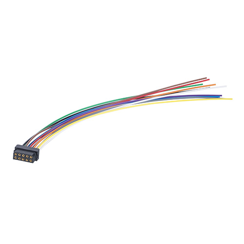 M80-FC21068L0-0150L - 5+5 Pos. Female DIL 24AWG Cable Assembly, 150mm, single-end, for Latches