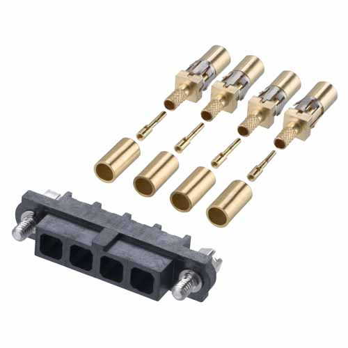 M80-FC305F1-04 - 4 Pos. Female SIL RG178 Cable Conn. Kit, Jackscrews