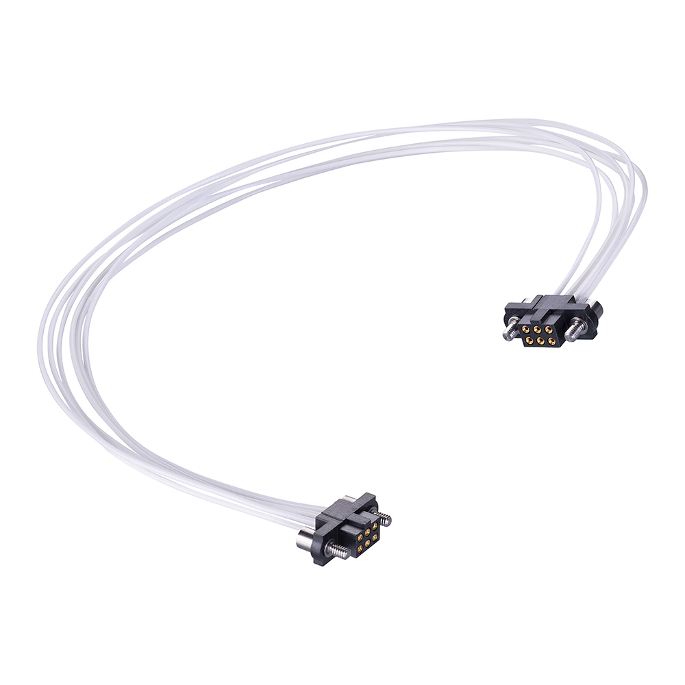 M80-FC30605F2-0300F2 - 3+3 Pos. Female DIL 26AWG Cable Assembly, 300mm, double-end, Jackscrews