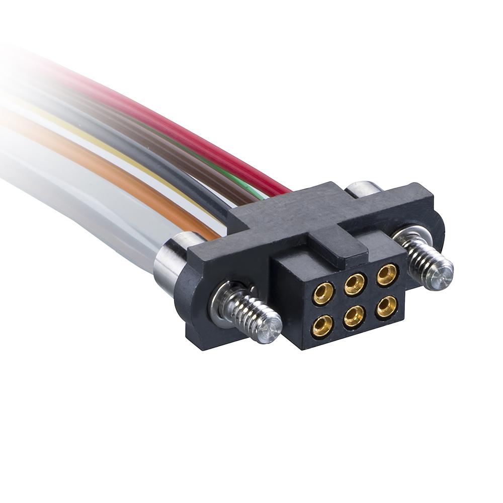 M80-FC30668F2-XXXXL - 3+3 Pos. Female DIL 26AWG Cable Assembly, single-end, Jackscrews