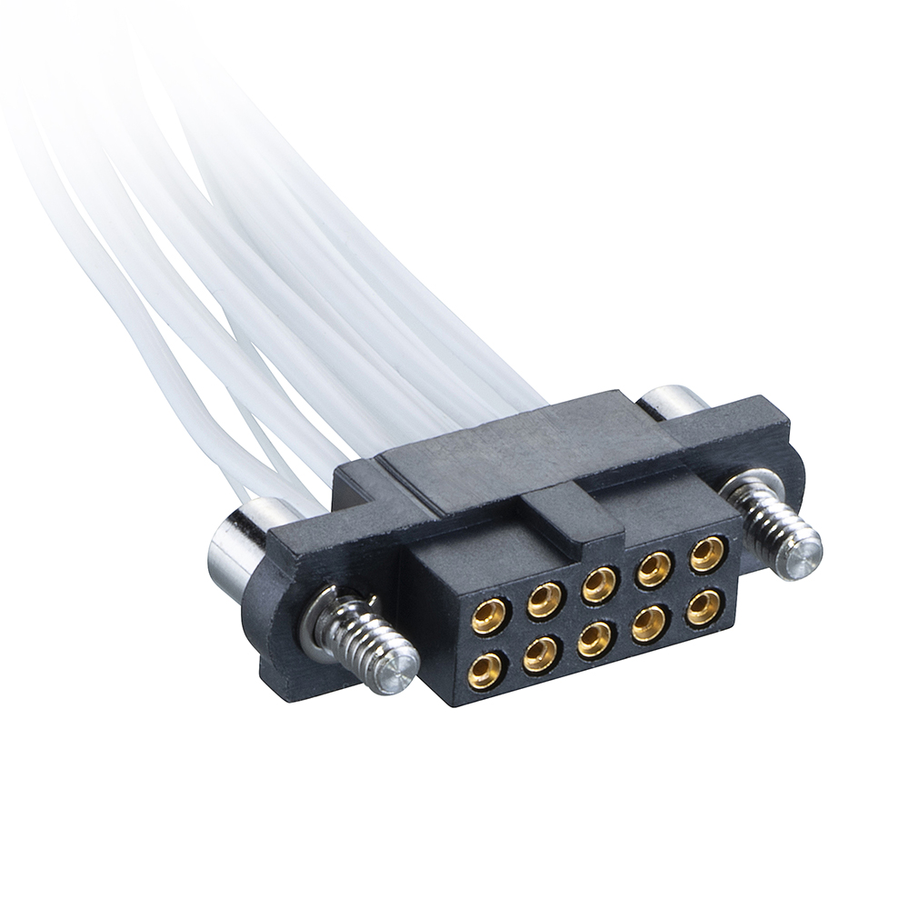 M80-FC31005F2-0300F2 - 5+5 Pos. Female DIL 26AWG Cable Assembly, 300mm, double-end, Jackscrews