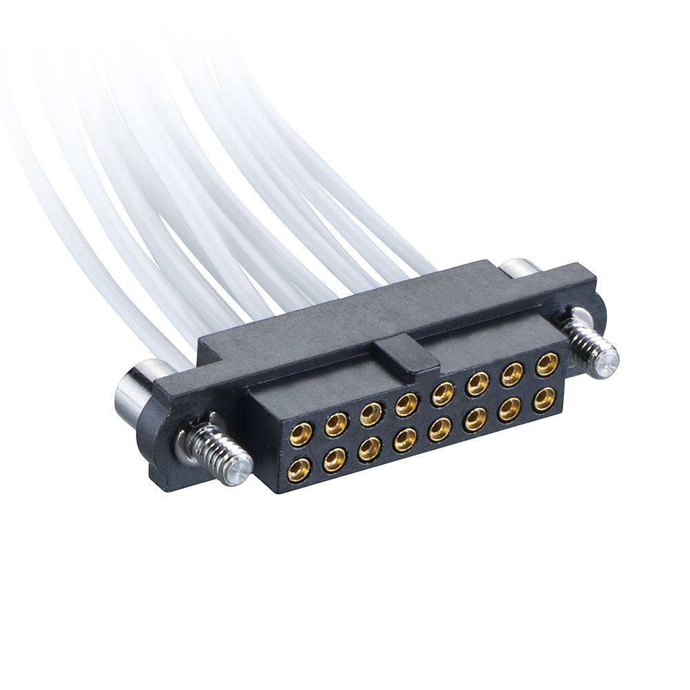 M80-FC31605F2-0300F2 - 8+8 Pos. Female DIL 26AWG Cable Assembly, 300mm, double-end, Jackscrews