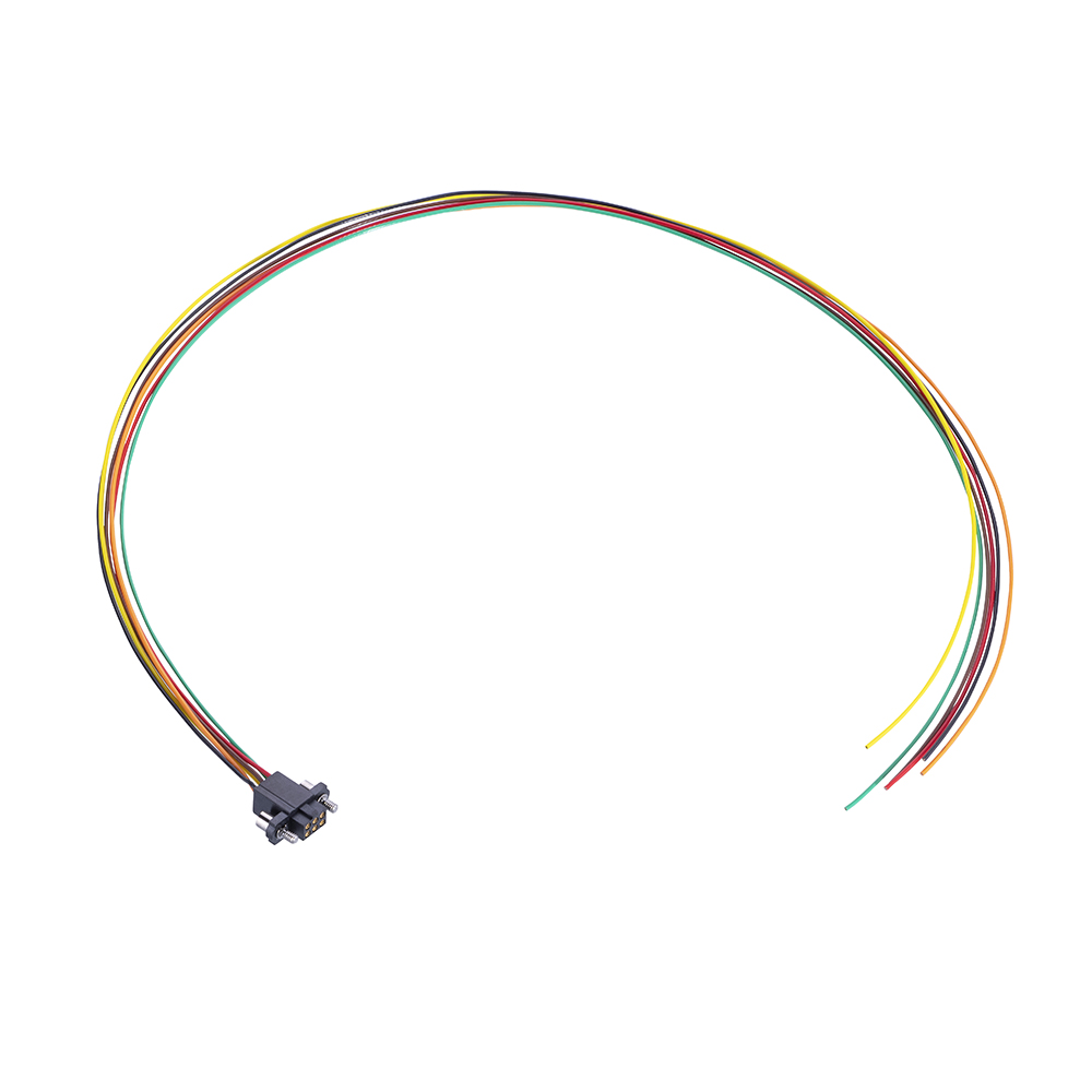 M80-FE20668F2-0450L - 3+3 Pos. Female DIL 24AWG Cable Assembly, 450mm, single-end, Extended Wall, Jackscrews