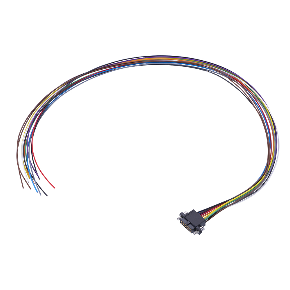 M80-FE31268F2-XXXXL - 6+6 Pos. Female DIL 26AWG Cable Assembly, single-end, Extended Wall, Jackscrews
