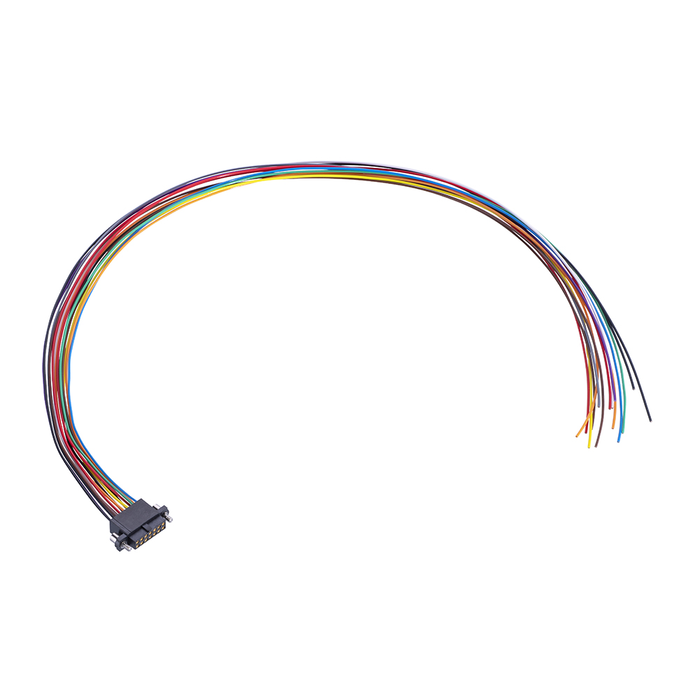 M80-FE21468F2-XXXXL - 7+7 Pos. Female DIL 24AWG Cable Assembly, single-end, Extended Wall, Jackscrews