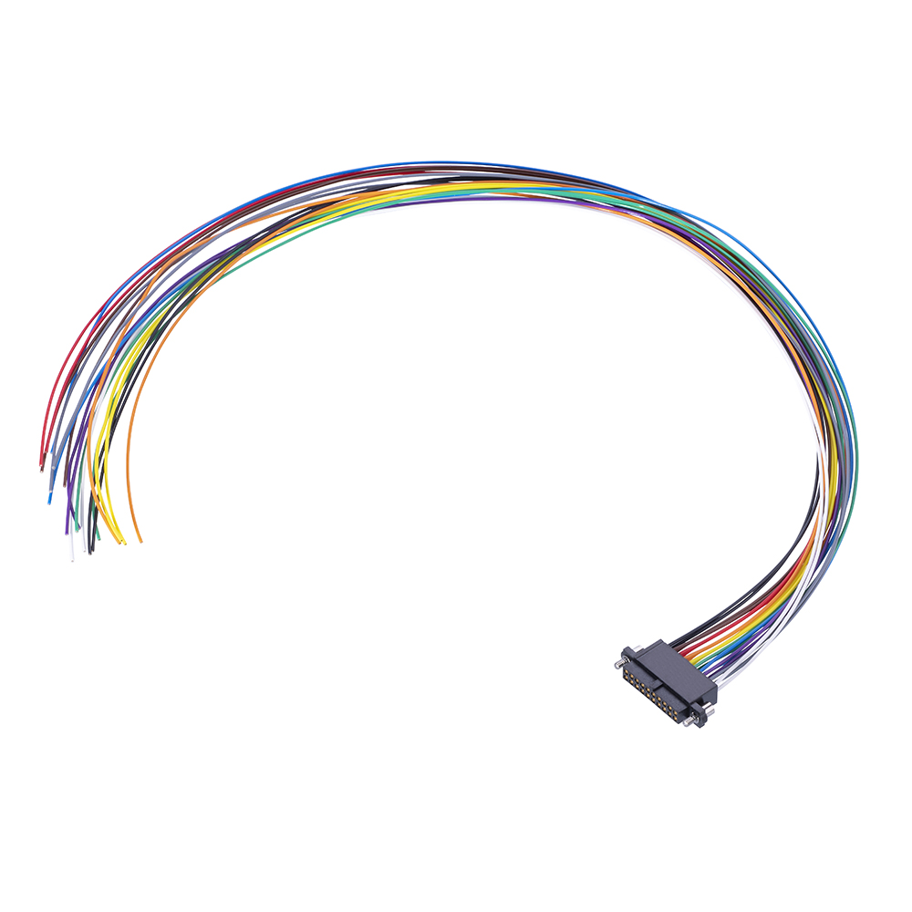 M80-FE22068F2-0450L - 10+10 Pos. Female DIL 24AWG Cable Assembly, 450mm, single-end, Extended Wall, Jackscrews