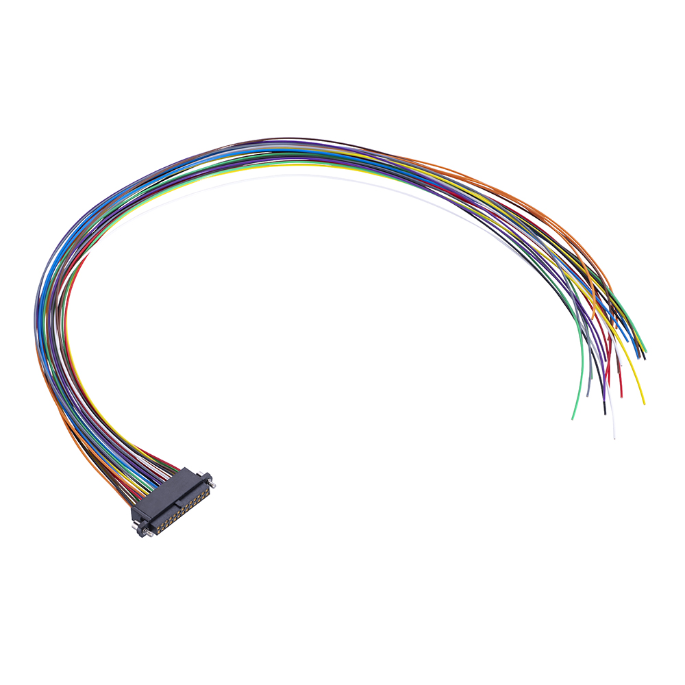 M80-FE22668F2-0450L - 13+13 Pos. Female DIL 24AWG Cable Assembly, 450mm, single-end, Extended Wall, Jackscrews
