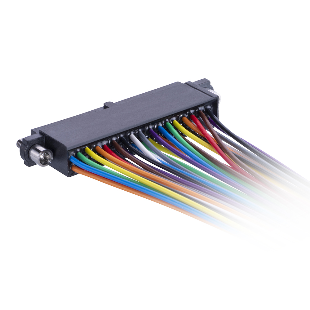 M80-FE23468F2-0450L - 17+17 Pos. Female DIL 24AWG Cable Assembly, 450mm, single-end, Extended Wall, Jackscrews