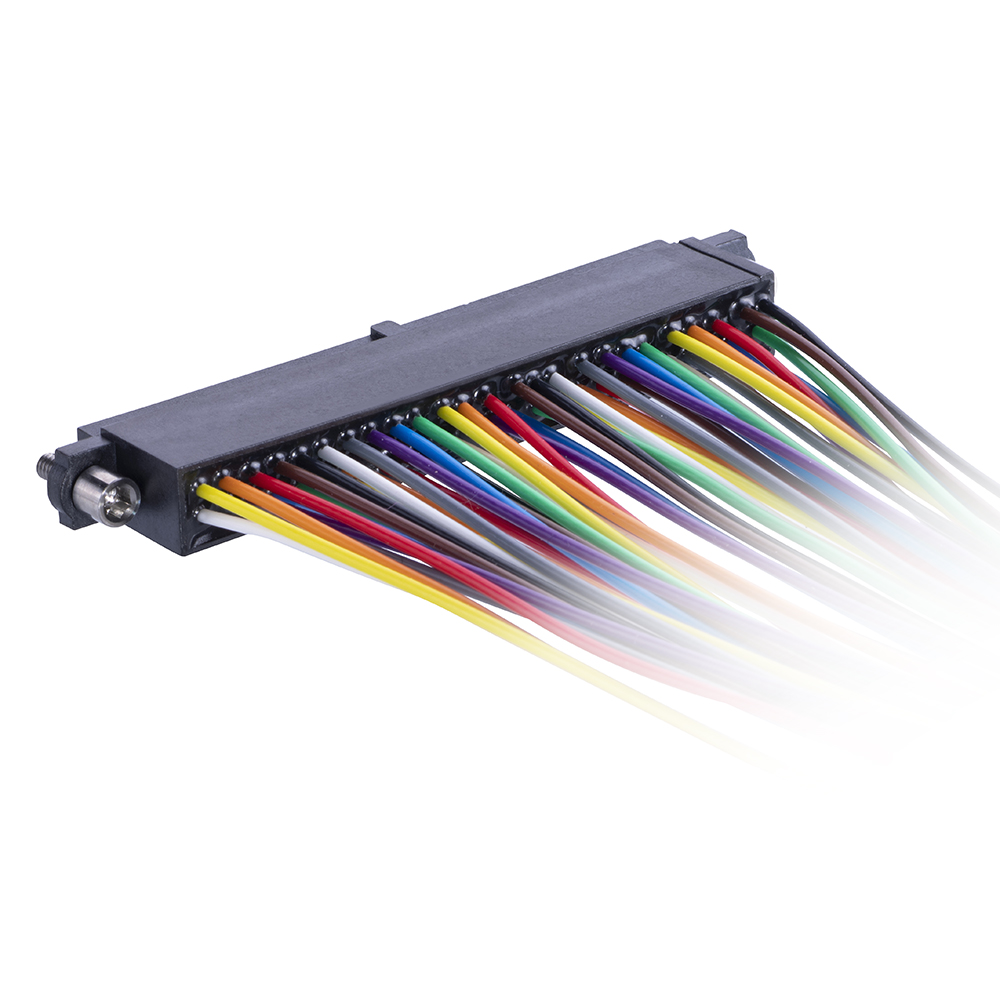 M80-FE45068F2-XXXXL - 25+25 Pos. Female DIL 28AWG Cable Assembly, single-end, Extended Wall, Jackscrews