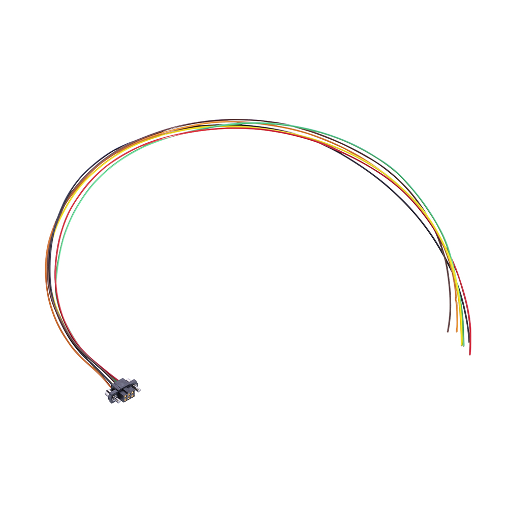 M80-FF20668F2-0450L - 3+3 Pos. Female DIL 24AWG Cable Assembly, 450mm, single-end, Extended Wall, Jackscrews