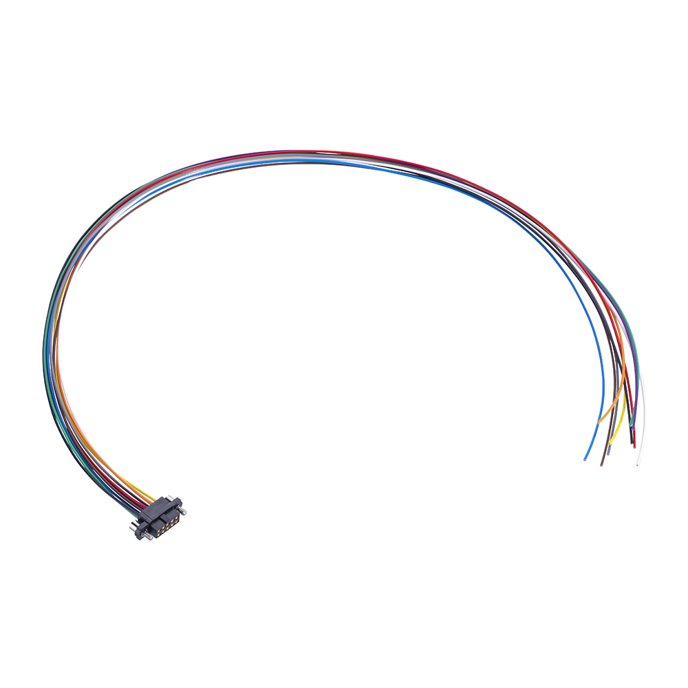 M80-FF21068F2-0450L - 5+5 Pos. Female DIL 24AWG Cable Assembly, 450mm, single-end, Extended Wall, Jackscrews