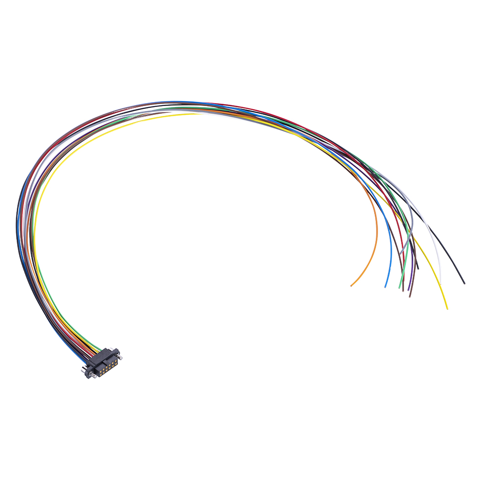 M80-FF21268F2-0450L - 6+6 Pos. Female DIL 24AWG Cable Assembly, 450mm, single-end, Extended Wall, Jackscrews